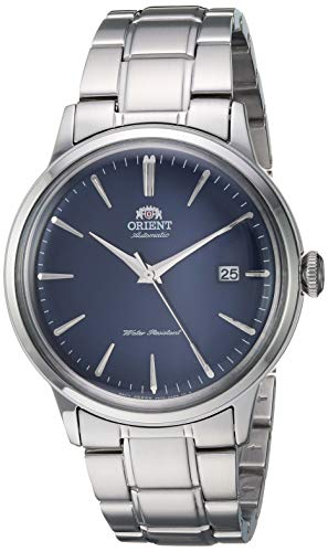 'Orient Men's ' Bambino Version 5' Japanese Automatic / Hand-Winding Stainless Steel Bracelet Dial Color: Blue Model #: RA-AC0007L10A'