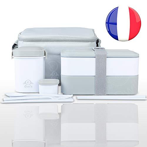 DWIS Lunch Box, Bento Box Sans BPA, Bento Japonais Avec Lunch Bag Isotherme   Boite Bento 2 Compartiments de Marque Française   Boite Repas Hermétique Avec Couverts   Box Lunch Ecologique   1200 ml