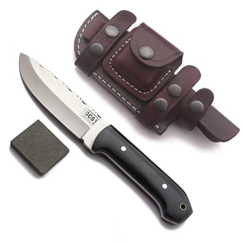 GCS Handmade D2 steel Hunting Knife Micarta Handle Tactical Knife with Buffalo Hide leather Sheath for Hunting Camping Survival and EDC GCS 108