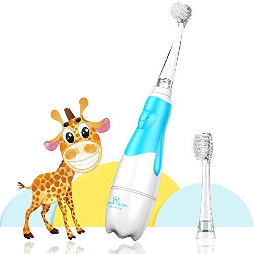Elektrische Zahnbürste Baby & Kleinkinder von 0-3 Jahren, Erste Babyzahnbürste mit Smart LED Timer(Blau)