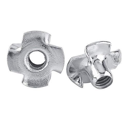 Tuerca en T Tuercas en T de cuatro puntas Tuercas de acero al carbono chapadas en zinc para muebles de carpintería M3 / M4 / M5 / M6 / M8 (M5-50pcs)