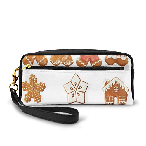 Pencil Case Pen Bag Pouch Stationary,Vivid Cute Christmas Gingerbread Biscuits Set Snowflake House Tree,Small Makeup Bag Coin Purse