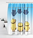 Funny Mischievous Minions Series Shower Curtain with 12 Hooks Waterproof Washable and Durable Polyester Fabric Three Naked Cartoon Figure Banana Bathroom Set Decor Washable 72 x 72 inches