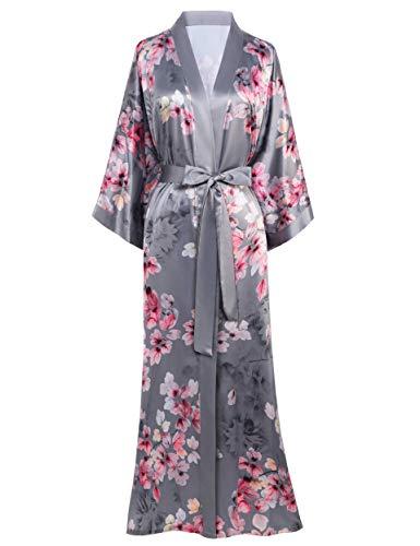 Coucoland Damen Morgenmantel Maxi Lang Satin Sommer Kimono Kleid Blatt Muster Kimono Bademantel Damen Lange Robe Blumen Schlafmantel Girl Pajama Party (Grau)