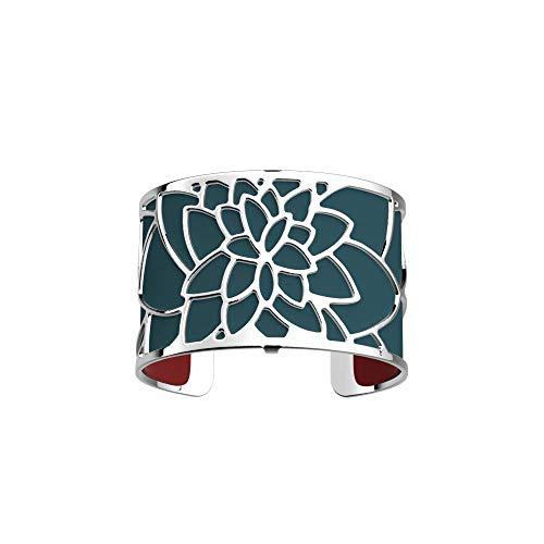 Les Georgettes - Bundle - Armreif in Silber 40mm Nenuphar See Rose inkl. Ledereinsatz Petrol Blau/Himbeer Rot