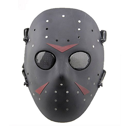 WISEONUS Airsoft Maske Paintball Masken Taktisch CS Games Schutz Jason Metall Mesh Masken Volles Gesicht Schutzmaske für Cosplay Kostüm Party Halloween