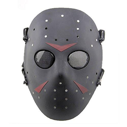 SGOYH Taktisch CS Games Airsoft Paintball Schutz Jason Metall Mesh Masken Volles Gesicht Schutzmaske für Cosplay Kostüm Party Halloween (Schwarz)