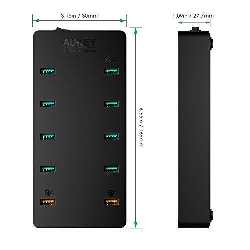 Aukey PA-T8 Ladegerät 3.0 USB, 10 Ports, 70W schwarz
