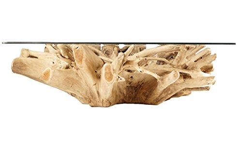 Windalf Großer Natur Design Couchtisch Leevi 125 cm Quadratischer Rustikaler Esstisch mit Glas Wurzelgeflecht Handarbeit aus Wurzelholz