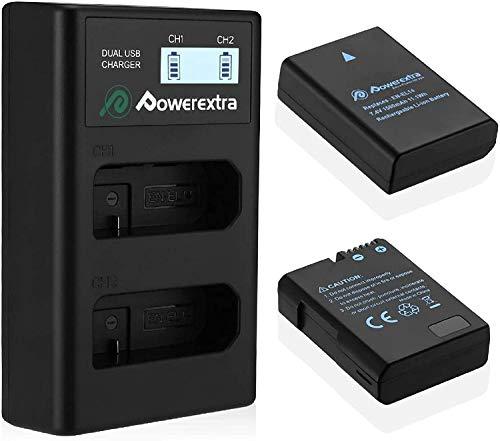 Powerextra Batería de Repuesto Nikon EN EL14 y EN-EL14a con Cargador Inteligente Pantalla LCD para Nikon P7000 P7100 P7700 P7800 D3100 D3200 D3300 D5100 D5200 D5300 D5500 DF Cámara