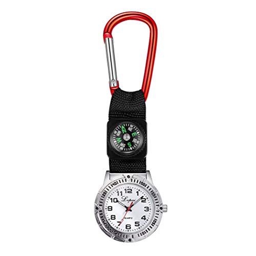 ifundom Bergsteigen Uhr mit Kompass Taschenuhr Krankenschwesteruhr Karabiner Design Einfache Mode Uhren (rot) Anruf Telefon Zubehör für Damen Herren