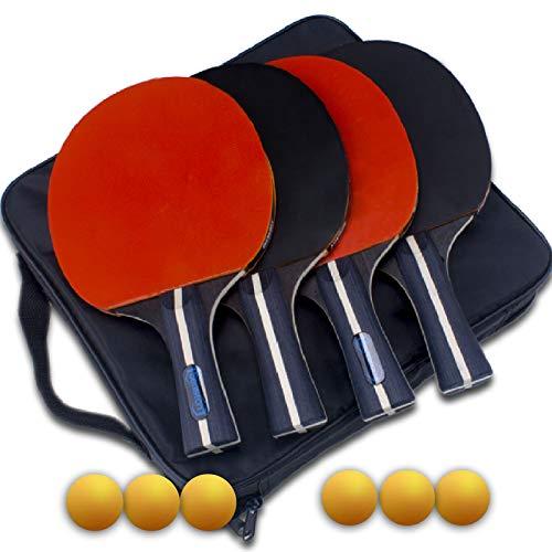 Senston Tischtennis Set für Familienunterhaltung, 4 Kosteneffizient Tischtennisschläger, 6 Tischtennis-Bälle Ideal für Anfänger, Familien