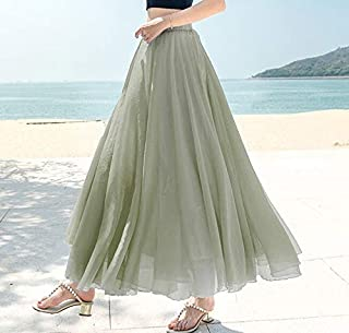 ZCFDDQ Skort Summer Women Maxi Skirt Boho High Wasit Women Long Chiffon Skirt Female Saias Elegant White Skirt Ankle-Length Beach Skirt