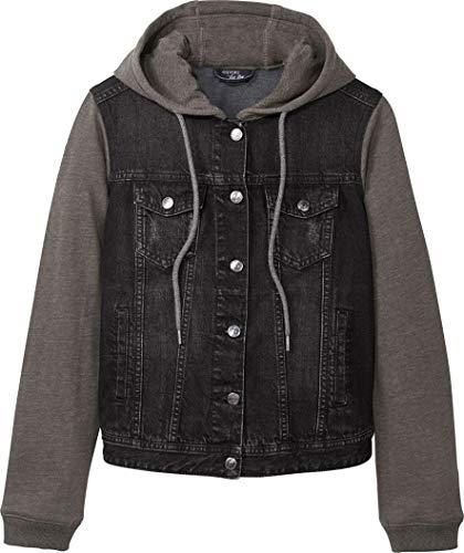 Esmara Jeansjacke mit Stoffärmeln (schwarz grau, Gr. 36)