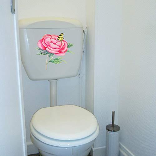 ZPZZPY Muursticker 21.4X19.5Cm Rode Rose Bloementak Vlinder Klassieke Kunst Muurstickers Fotobehang Creatief Toilet Wc Decor