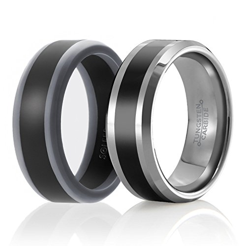 SOLEED Twins - Set of 2-1 Tungsten Wedding Band and 1 Silicone Rubber Wedding Ring for Men, Size 10