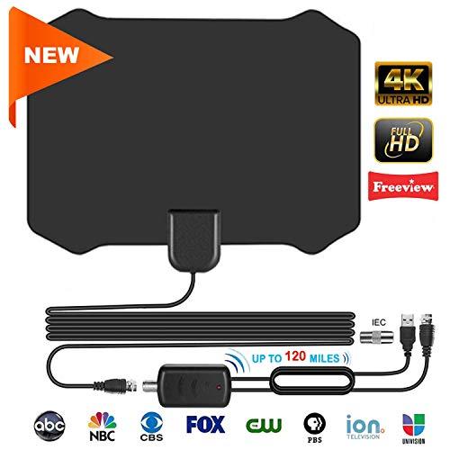 TV-Antenne, 120 Meilen / 200 km Laufzeit, TNT-Antenne innen, mit 4 m Koaxialkabel von - VHF/UHF/FM, unterstützt 4 K 1080p und alle älteren TV-Geräte (Schwarz)