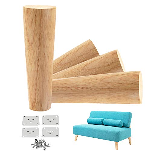 LBW Solid Wood Furniture Legs Round Couch Legs, 6 Inch Replacement Feet for Sofa, Bed, Armchair, Cabinet, Coffee Table with Mounting Plate Set of 4, Original Wood Color