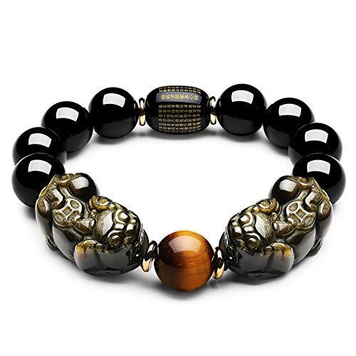 TENGXINGKEJI Feng Shui Pulsera de obsidiana Negra con Doble Chapado en Oro Pi Xiu/Pi Yao y Ojo de Tigre para atraer Riqueza y Buena Suerte
