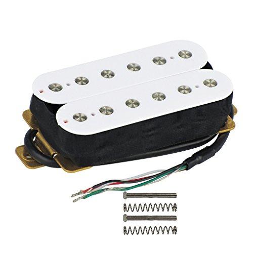 IKN Ceramic Double Coil Pickup Guitar Bridge Pastillas Humbucker 52mm 12 Pieza de poste plano sólido para parte de guitarra eléctrica, Blanco
