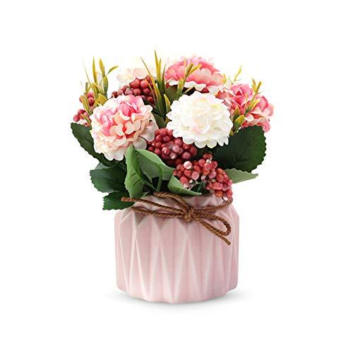 LdawyDE Flores Artificiales, 1 macetas Artificiales, Flores Artificiales Decorativas, Hecho de Tela de Seda, con 1 Maceta de cerámica, Colores Brillantes, para decoración, Banquete, Fiesta (Rosa)