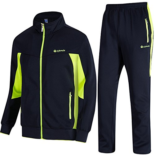 TBMPOY Men's Essential Running Top & Bottoms Set Long Sleeve Training Wear(Navy and Fluorescent Green,US L)