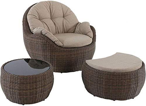 Tres piezas de muebles de patio al aire libre, balcones, terrazas, jardín jardín ratán sofá, puf cubierta, con sillas, mesa de café, taburetes,Brown
