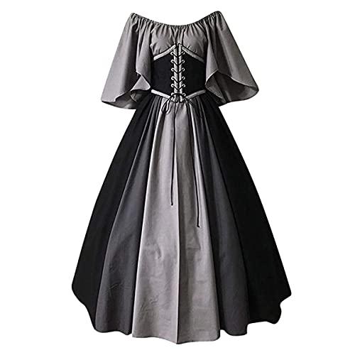 TMOYJPX Disfraz Halloween Vestido Medieval Mujer Gtico Palacio - Disfraces Medievales Princesa Reina Bruja, Vestidos de Fiesta para Mujer Tallas Grandes (Gris, M)