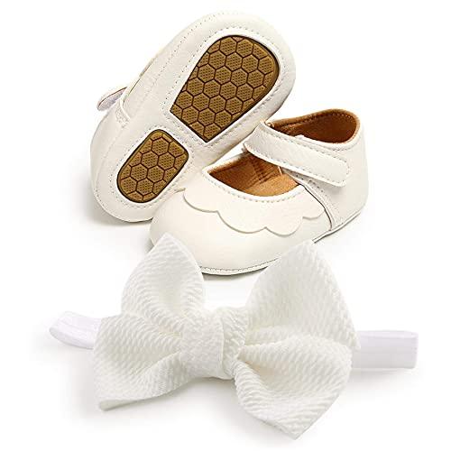 Babyschuhe, Taufschuhe Mädchen Baby Prinzessin Schuhe Stirnbänder Geschenkset  Anti-Rutsch&Weiche Sohle  Säugling Pailletten Bowknot Blumen Krippe Schuhe Lauflernschuhe Mädchen Hochzeit Schuhe
