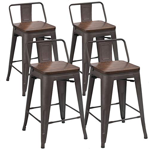 Tongli Metal Bar Stools Counter Height Stools Set of 4 Counter Height Barstools with Backs Patio Dining Chair Wooden Seat 24 inches (Rusty, Low Back)