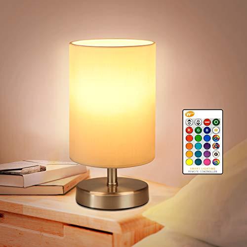 Lámparas de mesa y mesilla de noche RGB blanco cálido con mando a distancia LED de 5W Lámparas de escritorio regulables Luces de humor para dormitorios, habitaciones infantiles, bombilla incluida