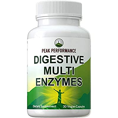 Digestive Enzymes Vegan Supplement by Peak Performance. Daily Essential Multi Enzyme Plant Complex with Probiotics + Prebiotics. Gluten Free Capsules for Better Food Digestion, Bloating Relief, Gas