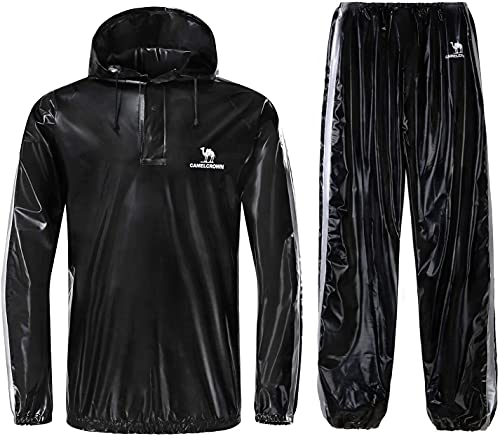 CAMEL CROWN Weight Loss Sweat Suit, Heavy Duty Sweat Sauna Suit for Men Women Exercise Gym Suit for Fitness, Black, X-Large