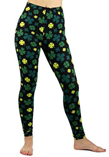 just one St. Patricks Day Leggings for Women Teens Irish Shamrock, Black Green, Junior, Regular and Plus Size