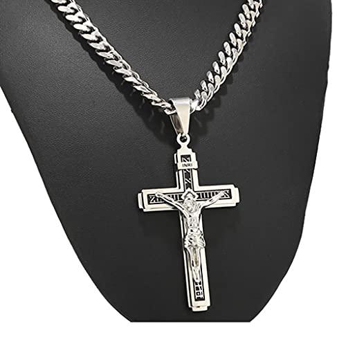 LWGOGM 1 Unids Acero Inoxidable Colgante Multicapa Cruzada Cristo Jesucristo Crucifijo para Joyería De Bricolaje Haciendo Hallazgos (Solo Colgante)