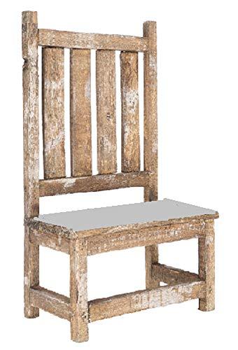 Rustikaler Holzstuhl mit verzinktem Metall-Sitz, Antik-Optik, Weiß