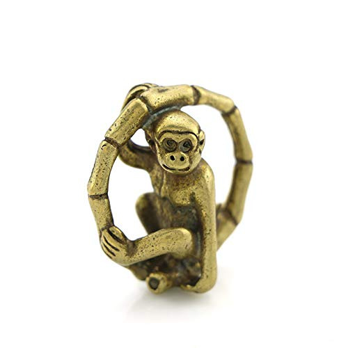 YGAKX Cobre Puro sólido Tallado a Mano Mono Anillo rodante Colgante Colgante Zodiaco Mono latón Llavero Accesorios antigüedades Varios
