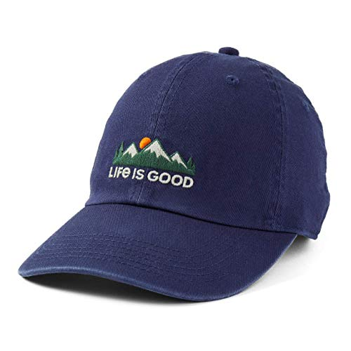 Life is Good Adult Chill Cap Baseball Hat, Mountains Darkest Blue, One Size