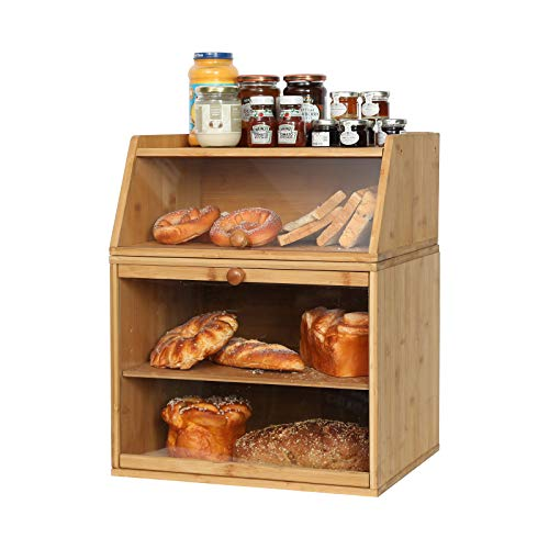 X-cosrack Large Double Separable Bamboo Bread Box storage with Clear Window and Adjustable Compartment for Kitchen Countertop
