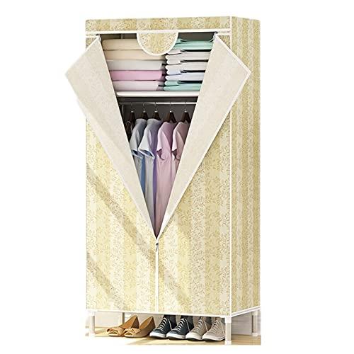 LICHUAN Armario de tela Oxford portátil para colgar ropa, dormitorio, armario de almacenamiento de ropa individual, armario de almacenamiento para ahorrar espacio (color: amarillo)
