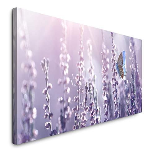Paul Sinus Art GmbH Lavendel und Schmetterlinge 120x 50cm Panorama Leinwand Bild XXL Format Wandbilder Wohnzimmer Wohnung Deko Kunstdrucke