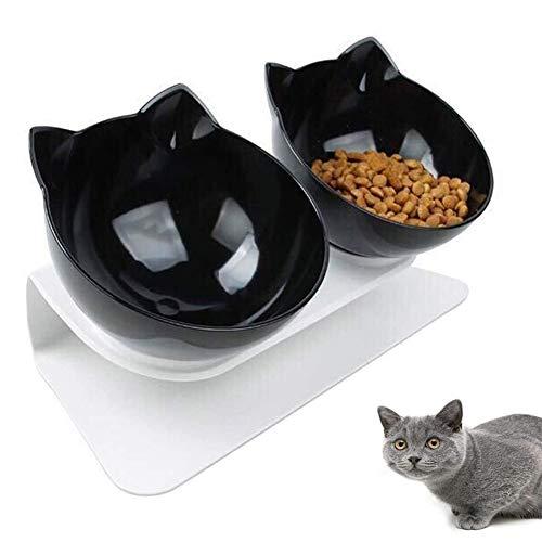 Katzen Futternapf, Doppelte Katzennäpfe mit erhöhtem Ständer, 15 ° geneigte Plattform Haustier Fressnapf und Wassernapf im Set, Doppelnapf Reduzieren Sie Nackenschmerzen für Katzen und Hunde (Schwarz)