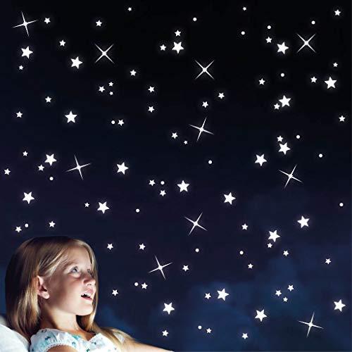 Wandtattoo Loft Leuchtaufkleber 100 Fluoreszierende Sterne für Sternenhimmel 10300