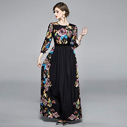 QUNLIANYI maxi-jurk kant jurk bloemenpatroon zwart lange jurken vrouwen print party jurk lente zomerjurk