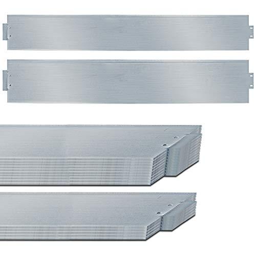 TolleTour Rasenkante Metall Beetumrandung Verzinkt Beeteinfassung Mähkante Palisade als Wurzelsperre, Profilkante Silber, (Länge 5m - Höhe 14cm)