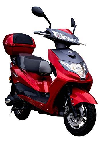 "Elektroroller ""EAGLE"", 2000 Watt, 60 km Reichweite, 45 km/h, E-Scooter, Elektro-Roller, E-Roller mit Straßenzulassung, Blei-Gel-Akku, Produktvideo, Rot/Schwarz"