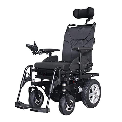 HYRL Silla de Ruedas eléctrica Todoterreno Inteligente Plegable de 4 Ruedas Silla de Ruedas cómoda automática para Trabajo Pesado con Respaldo Ajustable para Personas Mayores discapacitadas
