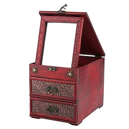Toasses Organizador de Caja de Almacenamiento de Caja de Almacenamiento de joyería de Madera Tallada con Tallado Retro con Regalo de Espejo (Estilo de Flor de Hierba)