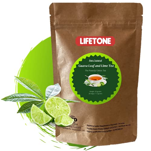 lifetone the tea for better life, Guava Leaf Tea with a touch of Lime| Immunity Booster | Herbal Tea (20 Teabags)