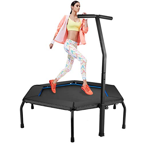 ZIZILAND Upgrade 48in Professional Hexagonal Fitness Trampoline with Height Adjustable Handle Bar, Silent Cardio Exercise Rebounder Trainer for Home Gym Workout, Super Easy Assembly (Blue)